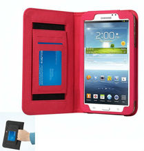 Leather Case Cover Stand + Elastic band For Samsung Galaxy Tab3 7.0 P3200, with Elastic band & Card Slots