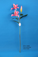 charming lifelike cheap artificial pink lily cut flower for decoration