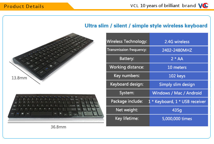 wireless compact thin keyboard wireless multimedia keyboard
