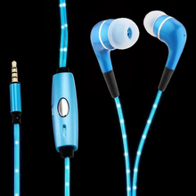New Trending Color LED Light 3.5mm Earphone with Charger Plug Fashion In ear Luminous Headset