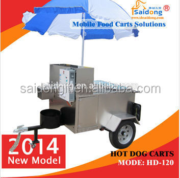 Mobile Stainless Steel Ice Cream Food Cart