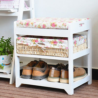 interior entryway small sitting shoes storage bench with soft cushion