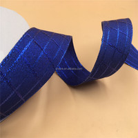 N1059 38mm X 100yards Wired Edge Royal Blue Metallic Check Plaid Ribbon. Gift Bow,Wedding,Cake Wrap,Tree Decoration,Wreath