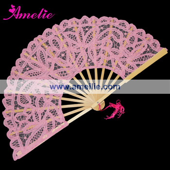 Wholesale Pink Cotton And Wooden Vintage Hand Fan
