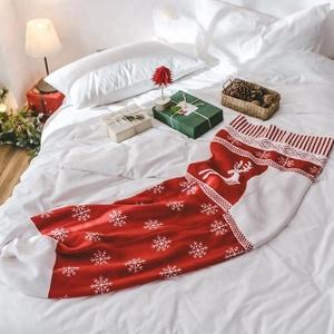 Bojay Christmas Sock Shape Blanket Wearable chunky knitted Christmas throw blanket