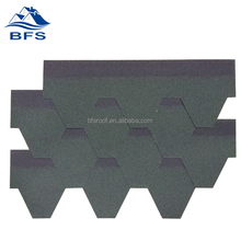 green hexagonal roofing shingles