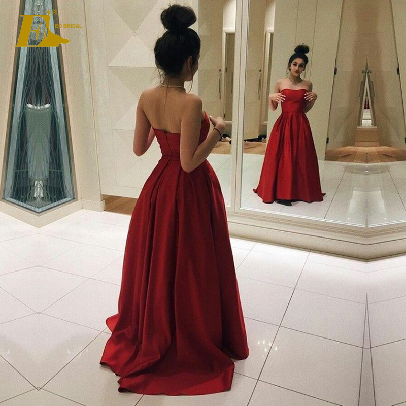 Deep Red Color Satin Long Strapless Prom Dress Made In China
