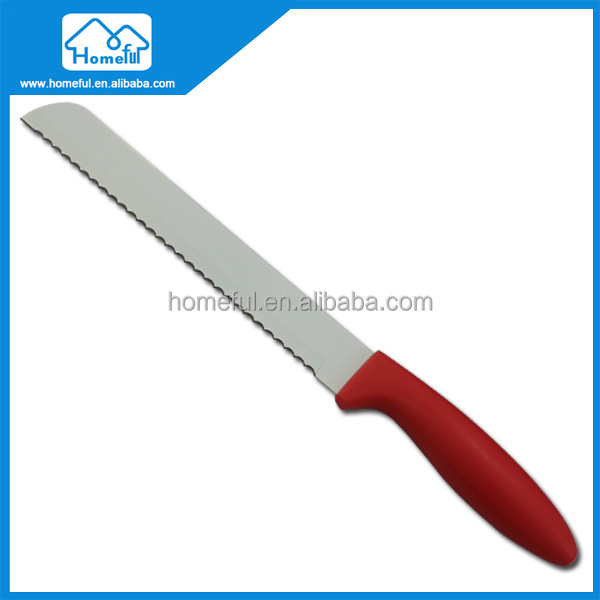 "8"" PP Handle Stainless Steel Non Stick Coating Serrated Bread Knife"