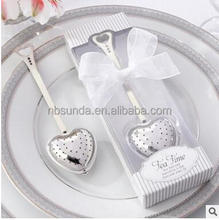Wholesale <strong>Wedding</strong> Favor Elegant White Gift Box Packed Tea Time Heart Tea Infuser