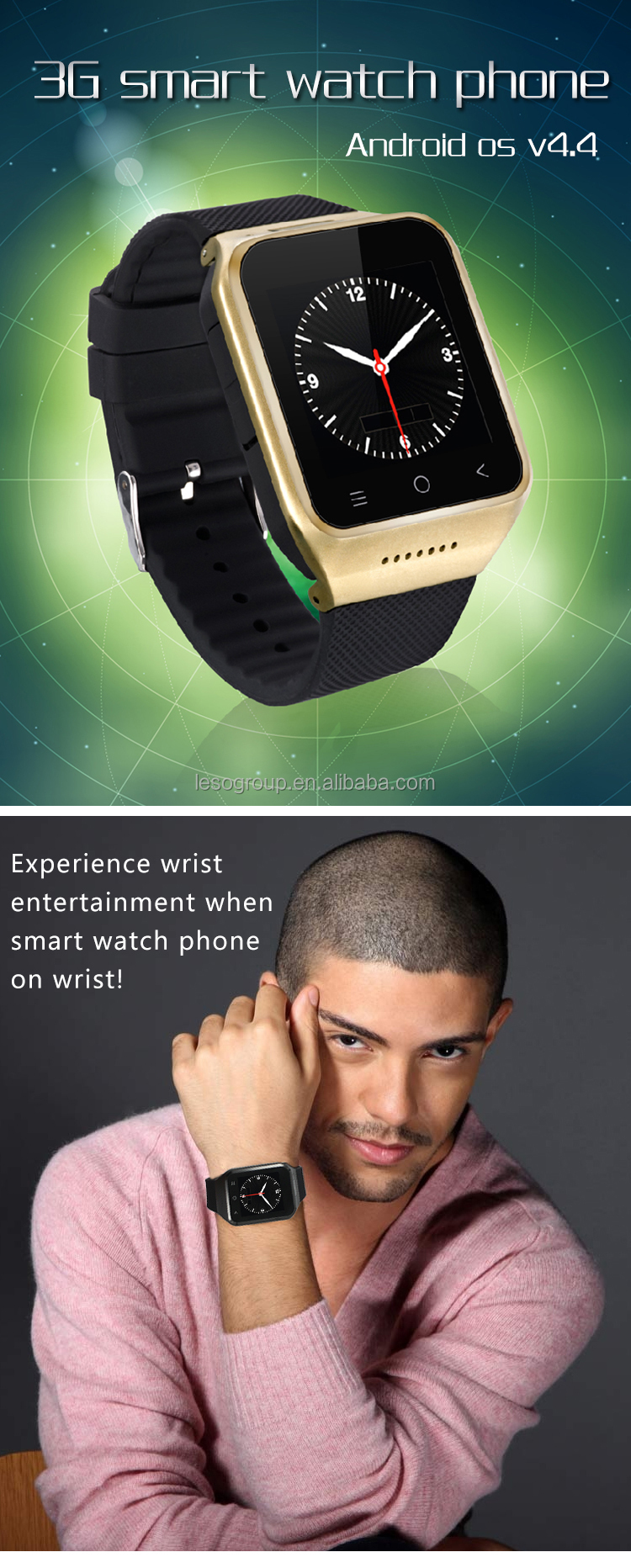 Android 4.4 3G Android Smart Watch S8 with Wifi and GPS Built in 8GB Memory