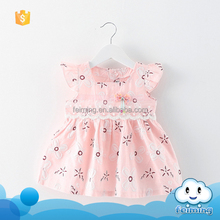 2016 wholesales baby stocks dress new style soft cotton children clothes fashion flower leisure infants dress