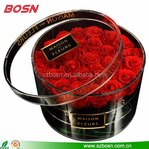 Elegant custom 2 tiers round acrylic flower box Perspex rose stand plexi-glass garden display