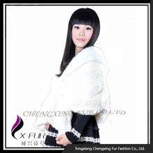 CX-B-M-01D New Design Factory Wholesale Natural Knitted Mink Fur Shawl