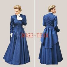 Free Shipping Sunshine Custom Made Southern Belle Blue Dress Civil War Dress Beautiful Medieval Dress Cosplay Costume