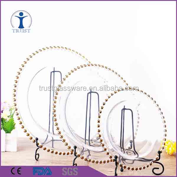 "wholesale clear type gold silver beads 13"" glass wedding party decoration cheap charger plates"