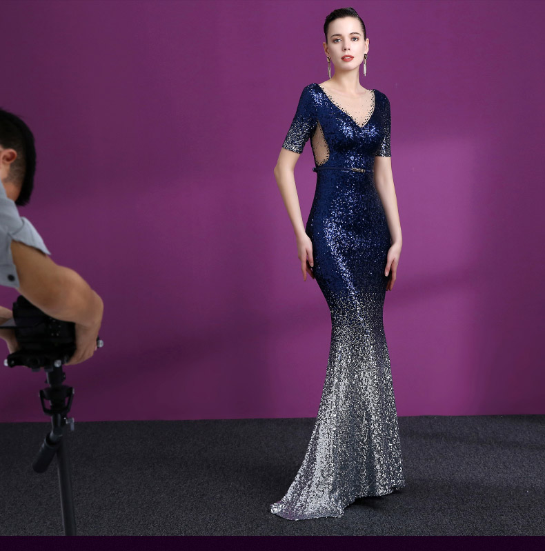 2018  Wholesale fish style Africa evening gown maxi Form Dress Split Long Sexy Backless party gowns sequined lace evening dress