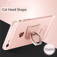 Free shipping cat head shape pc metal rotatable finger ring cell phone holder for tablet pc, ipad