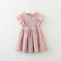 Pink Lace Flower Girl Dress Baby Girl Lace Petti Dress Wedding Party Dress Vintage Style Dress