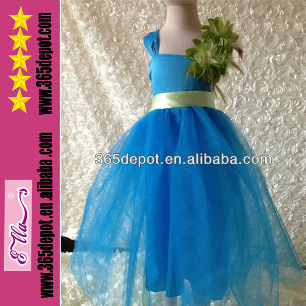Flower Girl Party Dress Royal Blue And White Wedding Dresses