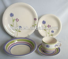 Elegant 20pcs Purple Lotus design Ceramic Handpainted new year tableware for Party ans hotel use