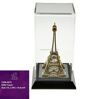 Luxury Gold Plated Crystal Eiffel Tower Stand for office decoration with crystals from swarovski