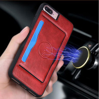 2017 new high quality crazy horse leather phone case with card slots and strong magnet for car holder using as GPS