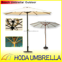 Romantic white garden umbrella with wooden frame high-end patio umbrella for coffee house