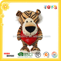 Soft Toy Tiger Pattern Plush Tiger Toy with Red Heart