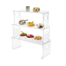 3 Layer Custom Detachable Clear Acrylic Finger Food Display for buffet
