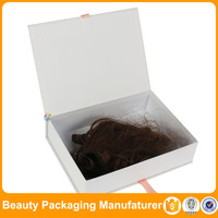 White packaging hair extension wig boxes and cases