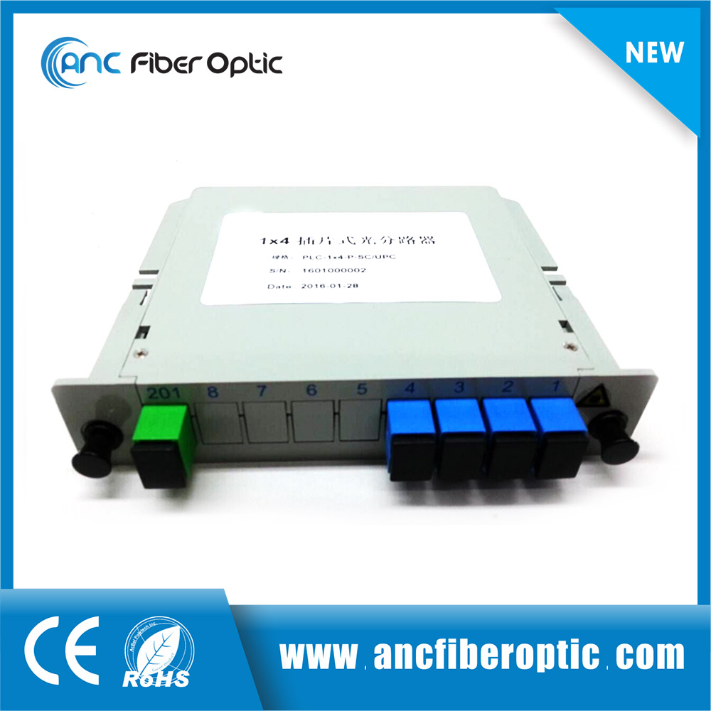 Great quality 1x4 cassette type PLC Splitter lgx 1x4 fiber optical splitter
