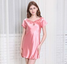 women silk imitation nightgowns plus size M-4XL round collar short sleeve comfortable ladies sleepdress loungewear