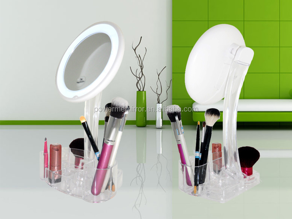 Professional makeup mirror with lights, powerme tabletop cosmetic mirror with led, lighted plastic makeup mirror