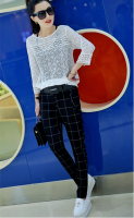 Eourpean wind fashion Spring and Autumn Plaid Leisure ladies pants