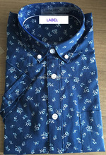 Printed Fabric and Labelled Men Short Sleeve Dress Shirt 100% Cotton