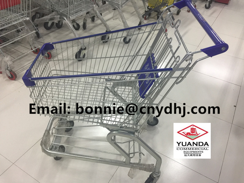 Hot Sale in Australia Portable Folding Metal Trolley Shopping Cart With PU wheels