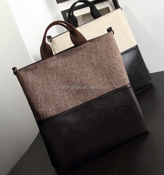 2015 Fashion canvas tote bag with leather handle, leather handbag for women