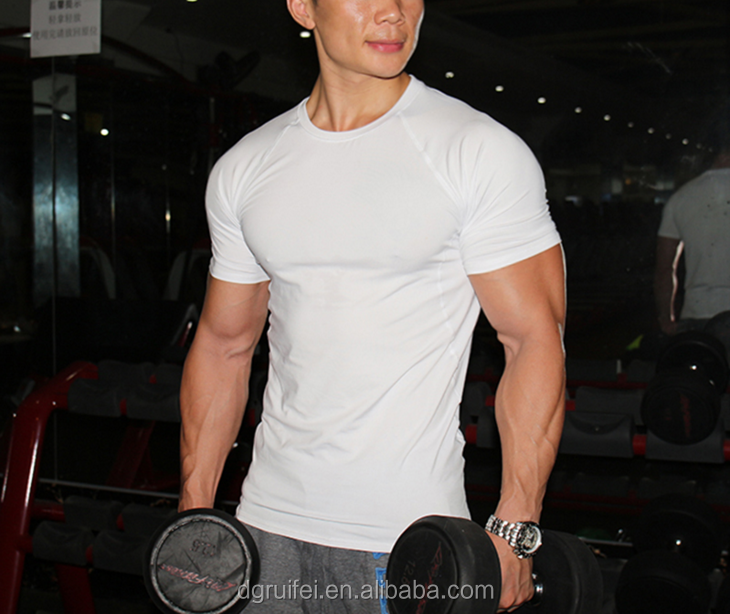 wholesale high qulaity sportswear design your own t shirt for men white gym bodybuilding t shirt