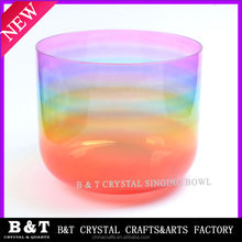 2015 Newest style Rainbow color Chakra Crystal quartz Singing Bowls BNTS 101