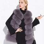 New style luxury gilet winter warm bushy and soft long real fox fur vest for women
