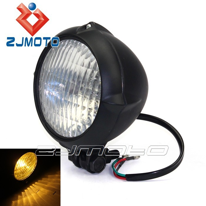 Universal Black with Clear Lens Headlight Aluminum H4 Vintage Classic Round Head Light For Custom Motorcycle Chopper Top