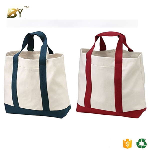 New Design large 2 Tone cotton twill Shopping Tote Bag