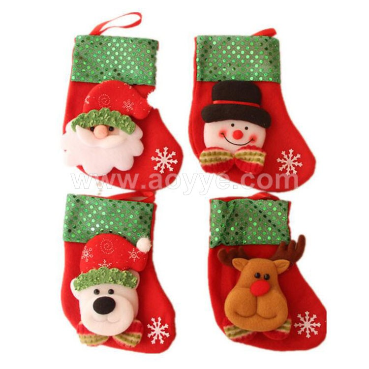 Wholesale creative home recycable packing promotional christmas stocking decorative candy bags
