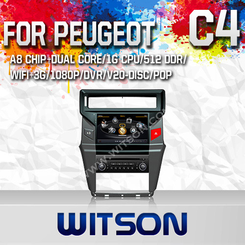WITSON FOR CITROEN C4 2012 CAR DVD GPS NAVIGATION WITH GPS WIFI 1.6GHZ FREQUENCY DVR SUPPORT WIFI APE MUSIC RAM 8GB FLASH