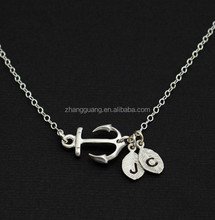 Personalized anchor pendant necklace with custom initials