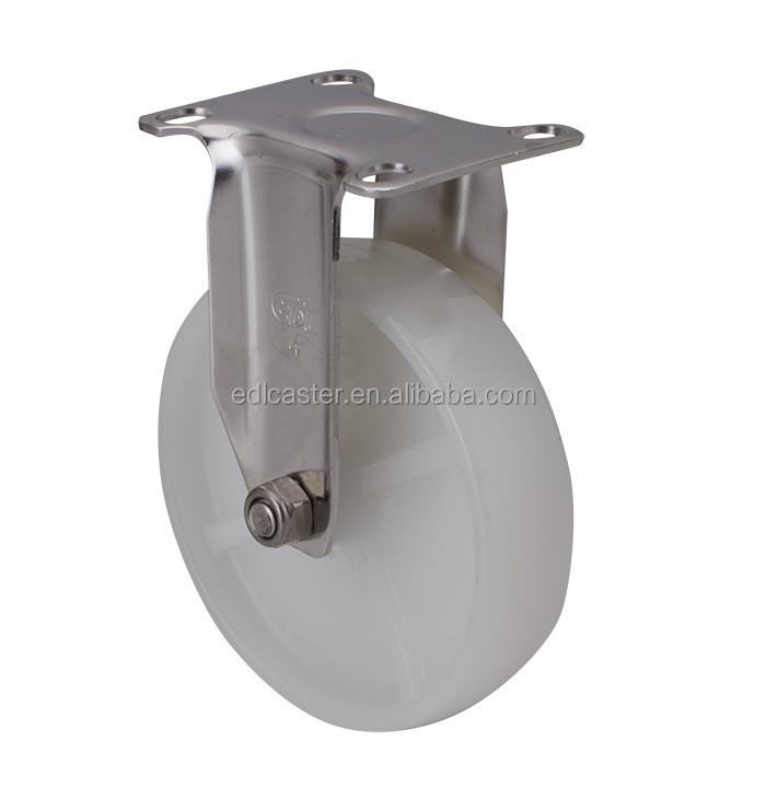 "EDL Light Duty 4"" 90Kg Nylon Stainless Steel Plate Rigid Small Industrial Caster Wheel for trolley cart"