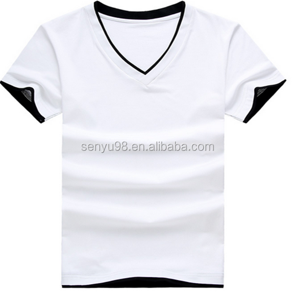 factory price 100% organic cotton short sleeve causal V-neck white t-shirts for men wholesale