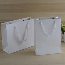J451 Luxury recycled white custom printing logo shopping pack paper bag