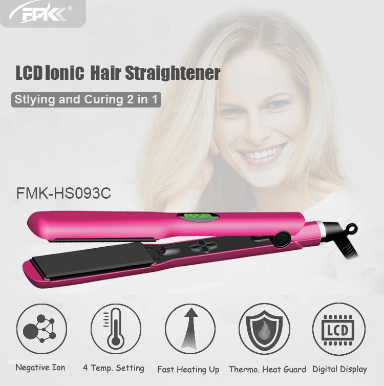 2018 Newest Ionic hair straighteners frizz free digital smart LCD display titanium ceramic private label flat iron