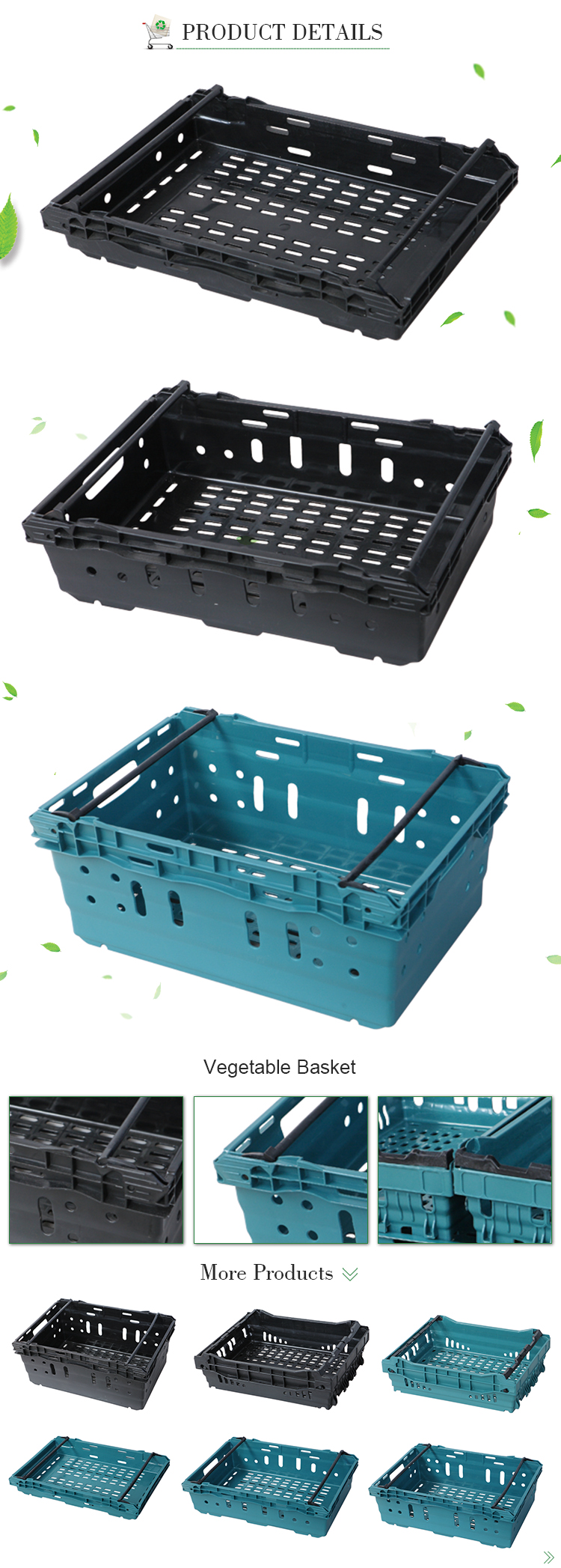 635x425x170mm Plastic mesh type food grade stackable storage basket